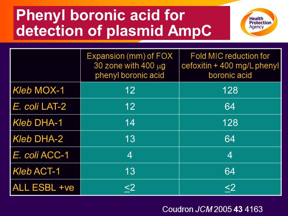 Phenyl boronic acid for detection of plasmid AmpC Expansion (mm) of FOX 30 zone with 400  g phenyl boronic acid Fold MIC reduction for cefoxitin + 40