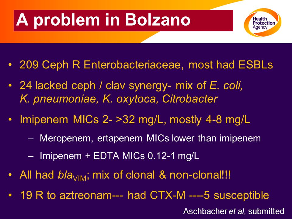 A problem in Bolzano 209 Ceph R Enterobacteriaceae, most had ESBLs 24 lacked ceph / clav synergy- mix of E.