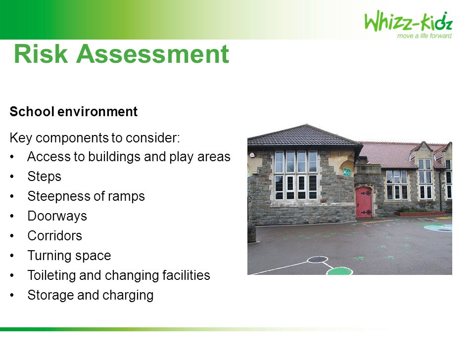 Risk Assessment Key components to consider: Access to buildings and play areas Steps Steepness of ramps Doorways Corridors Turning space Toileting and