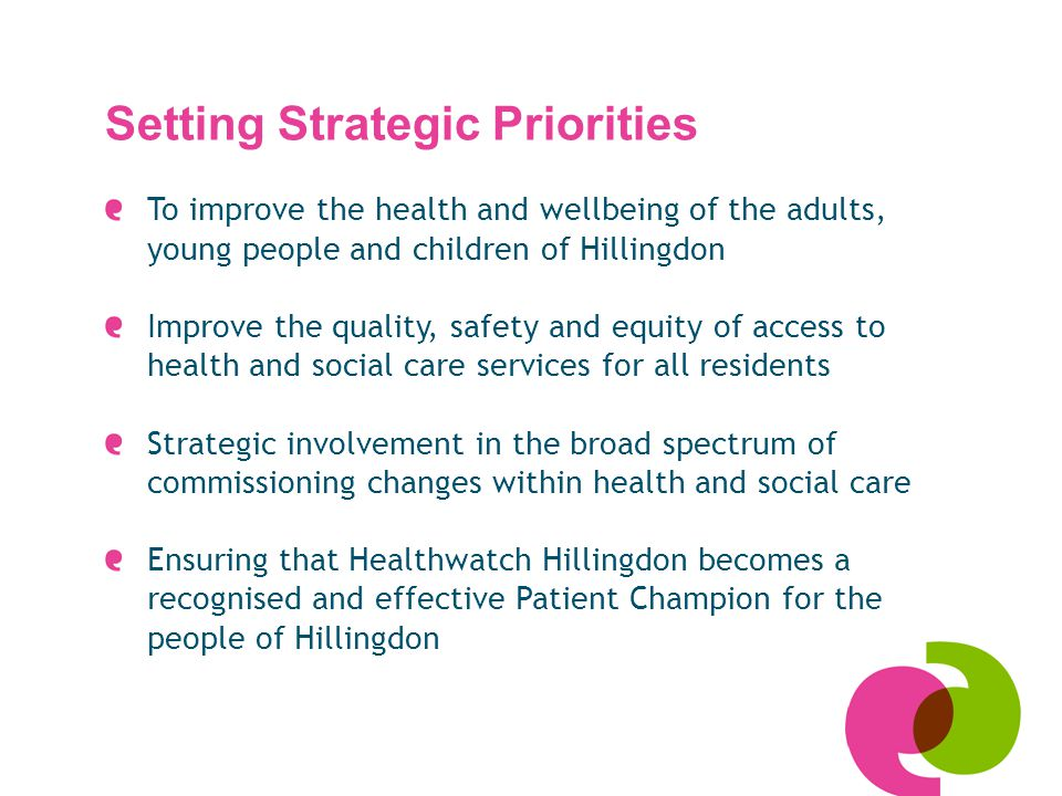 Setting Strategic Priorities To improve the health and wellbeing of the adults, young people and children of Hillingdon Improve the quality, safety and equity of access to health and social care services for all residents Strategic involvement in the broad spectrum of commissioning changes within health and social care Ensuring that Healthwatch Hillingdon becomes a recognised and effective Patient Champion for the people of Hillingdon