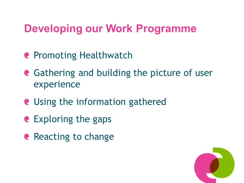 Developing our Work Programme Promoting Healthwatch Gathering and building the picture of user experience Using the information gathered Exploring the