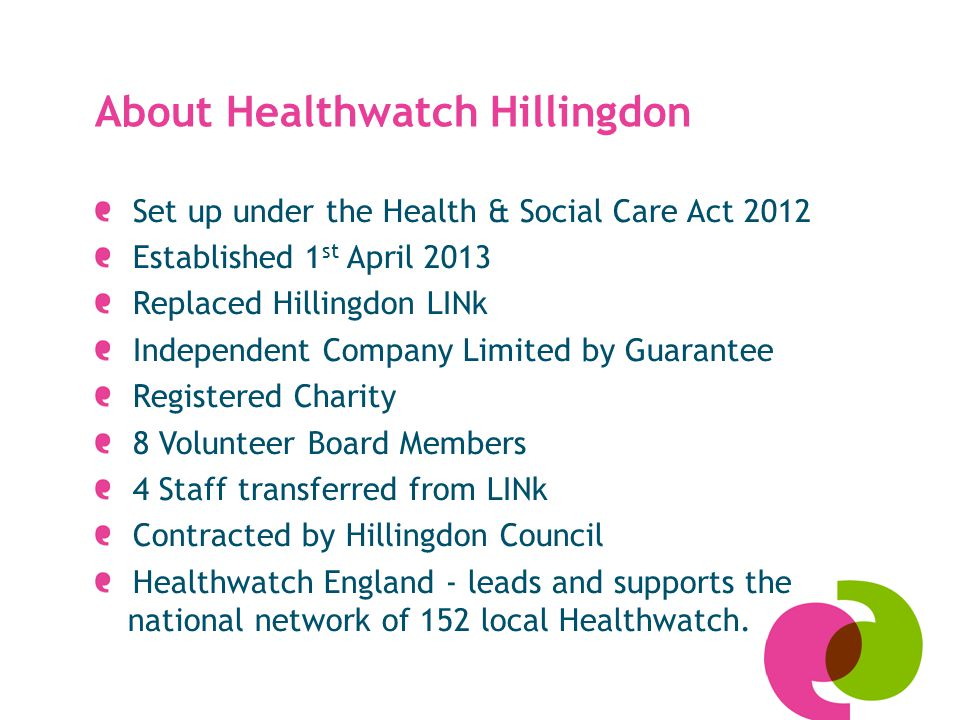 About Healthwatch Hillingdon Set up under the Health & Social Care Act 2012 Established 1 st April 2013 Replaced Hillingdon LINk Independent Company Limited by Guarantee Registered Charity 8 Volunteer Board Members 4 Staff transferred from LINk Contracted by Hillingdon Council Healthwatch England - leads and supports the national network of 152 local Healthwatch.