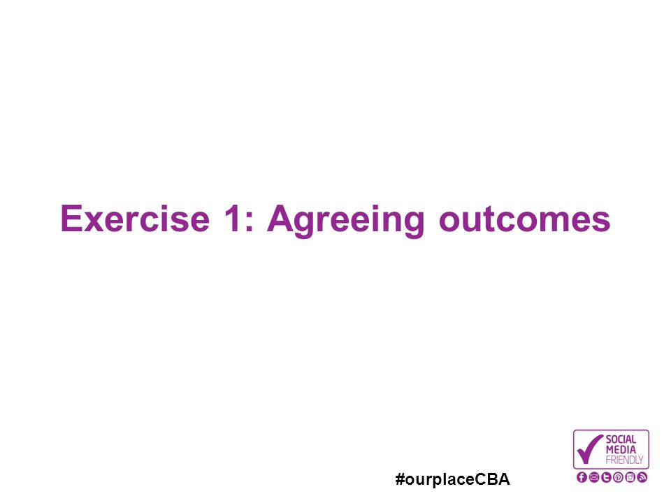 #ourplaceCBA Exercise 1: Agreeing outcomes