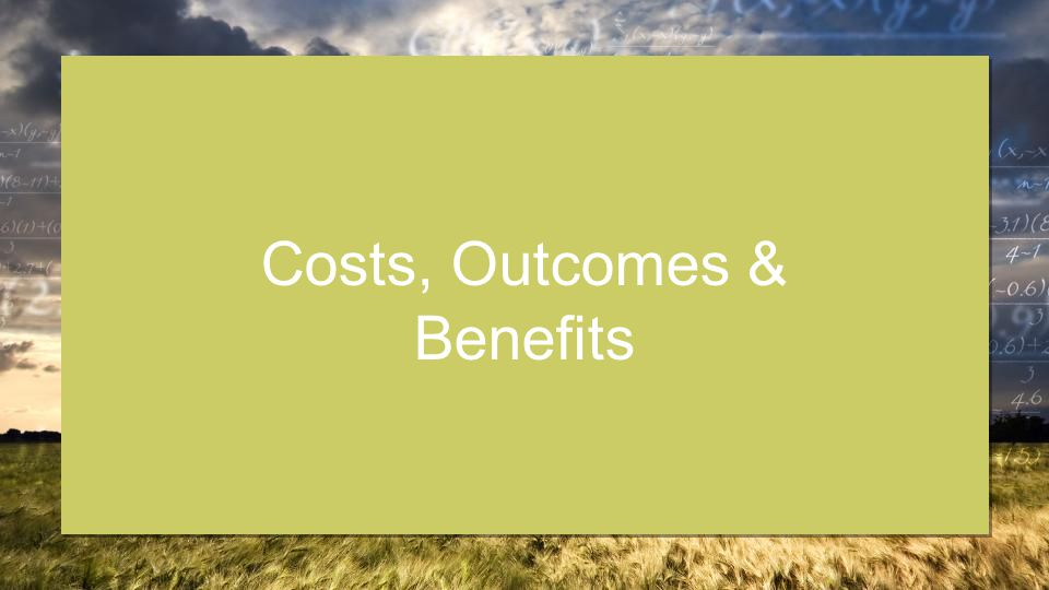 Costs, Outcomes & Benefits