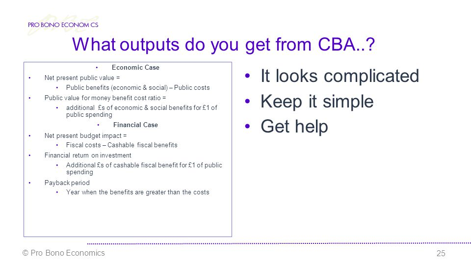 What outputs do you get from CBA...