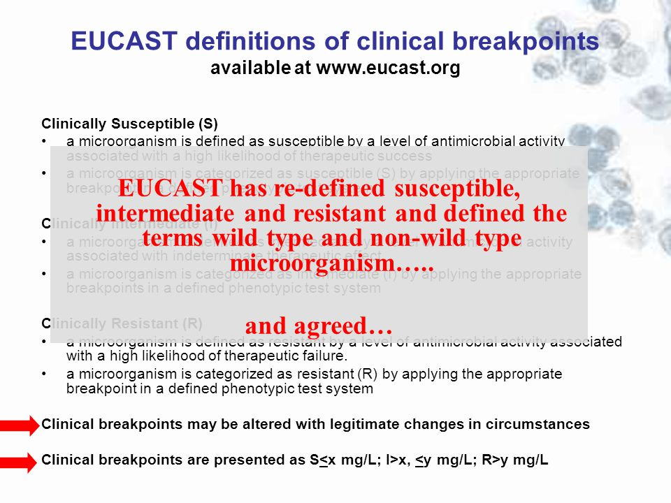 EUCAST definitions of clinical breakpoints available at www.eucast.org Clinically Susceptible (S) a microorganism is defined as susceptible by a level
