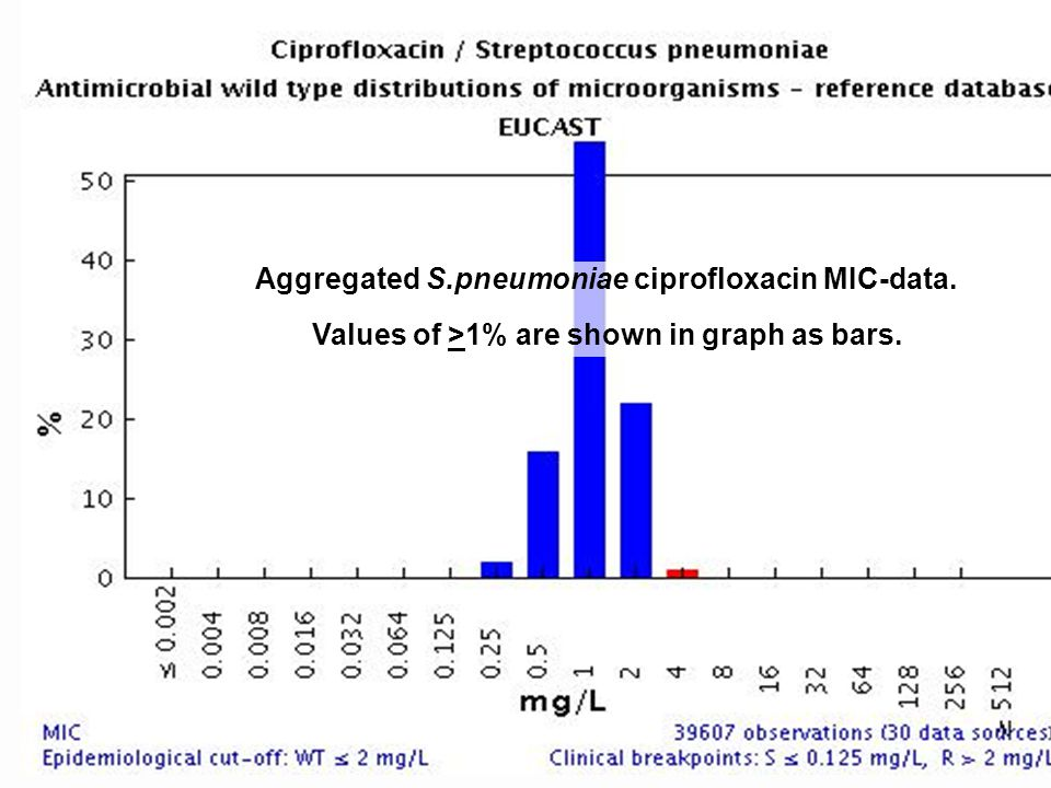 Aggregated S.pneumoniae ciprofloxacin MIC-data. Values of >1% are shown in graph as bars.