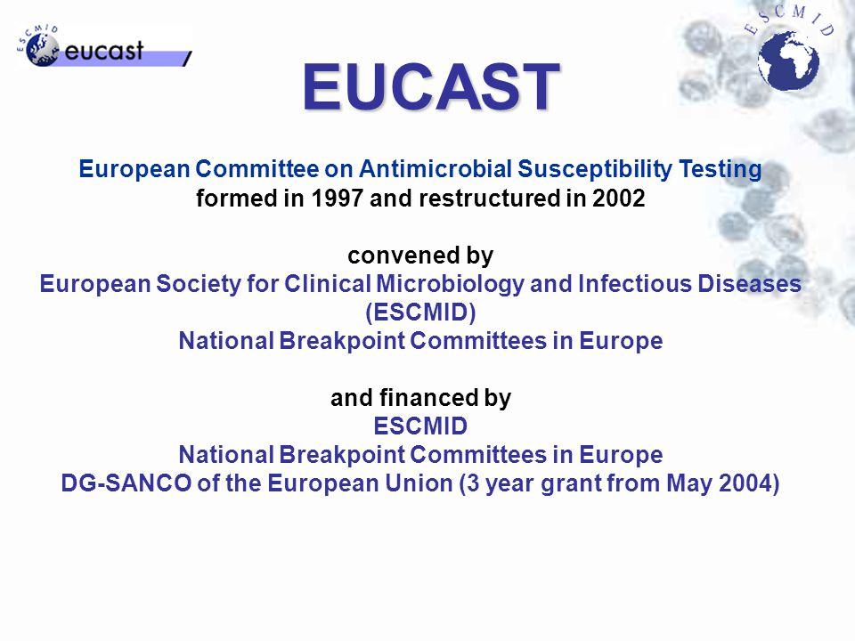 EUCAST procedure for setting breakpoints The next 9 slides describe the EUCAST procedure for harmonising European breakpoints.