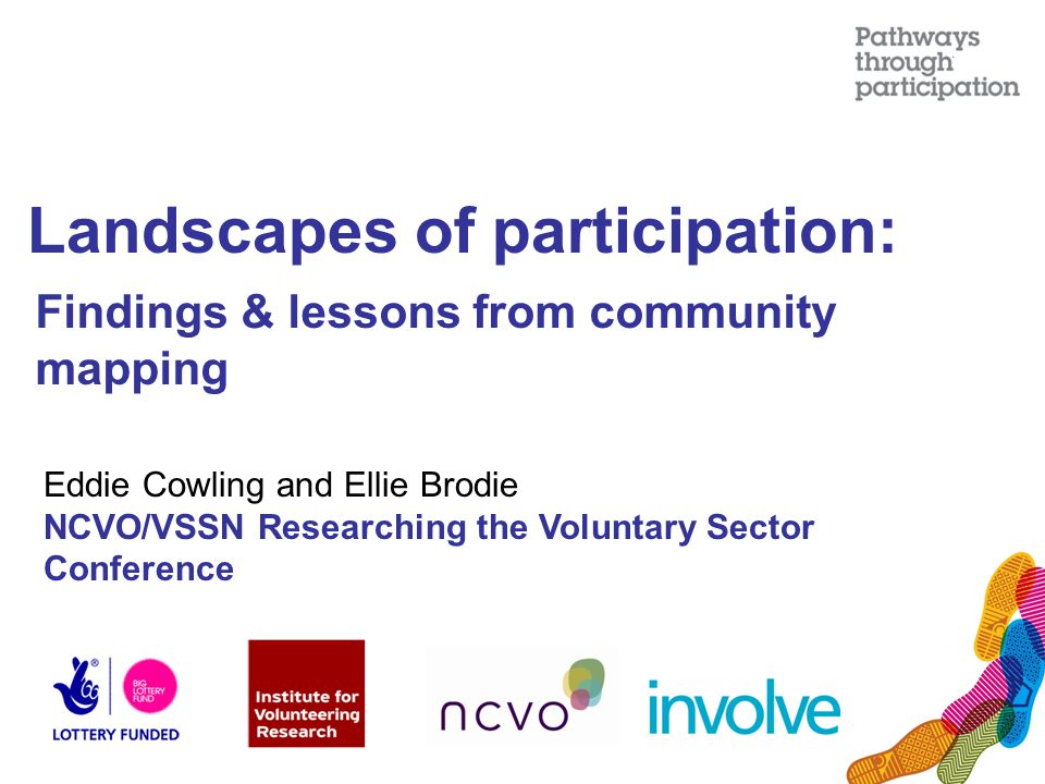 Landscapes of participation: Findings & lessons from community mapping Eddie Cowling and Ellie Brodie NCVO/VSSN Researching the Voluntary Sector Conference