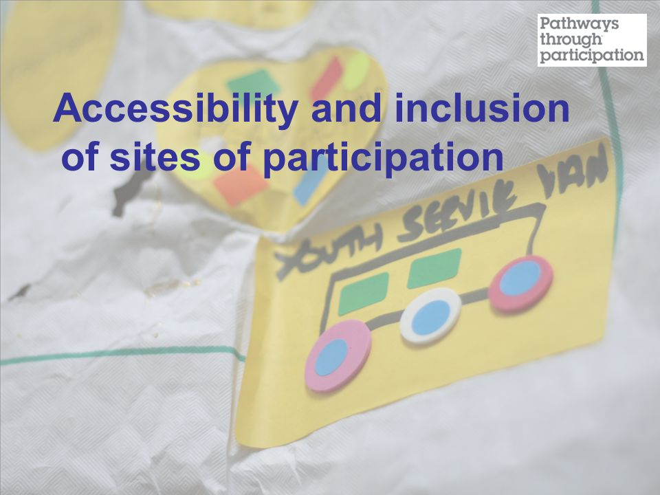 Accessibility and inclusion of sites of participation