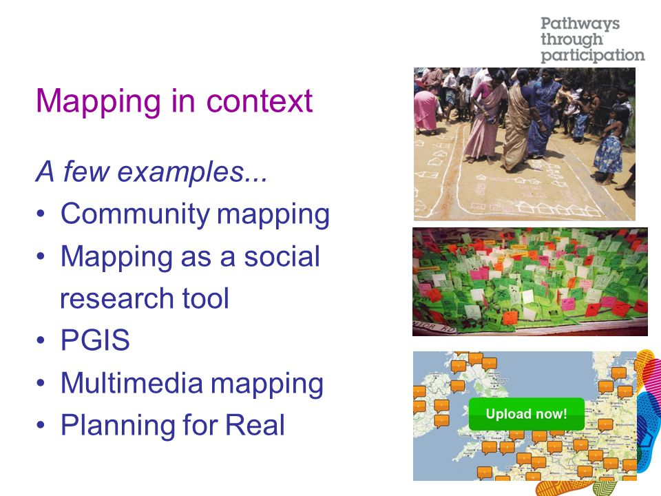 Mapping in context A few examples... Community mapping Mapping as a social research tool PGIS Multimedia mapping Planning for Real