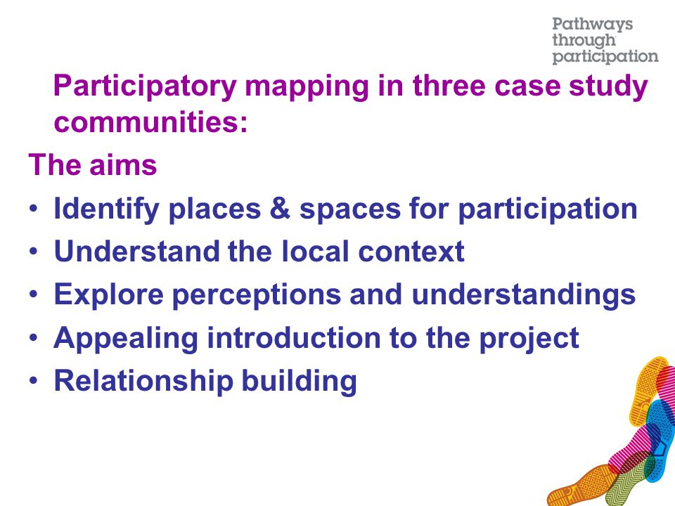 Participatory mapping in three case study communities: The aims Identify places & spaces for participation Understand the local context Explore perceptions and understandings Appealing introduction to the project Relationship building