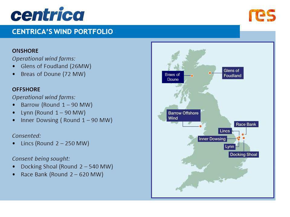 CENTRICA'S WIND PORTFOLIO ONSHORE Operational wind farms: Glens of Foudland (26MW) Breas of Doune (72 MW) OFFSHORE Operational wind farms: Barrow (Rou