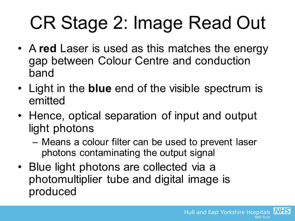 CR Stage 2: Image Read Out A red Laser is used as this matches the energy gap between Colour Centre and conduction band Light in the blue end of the v