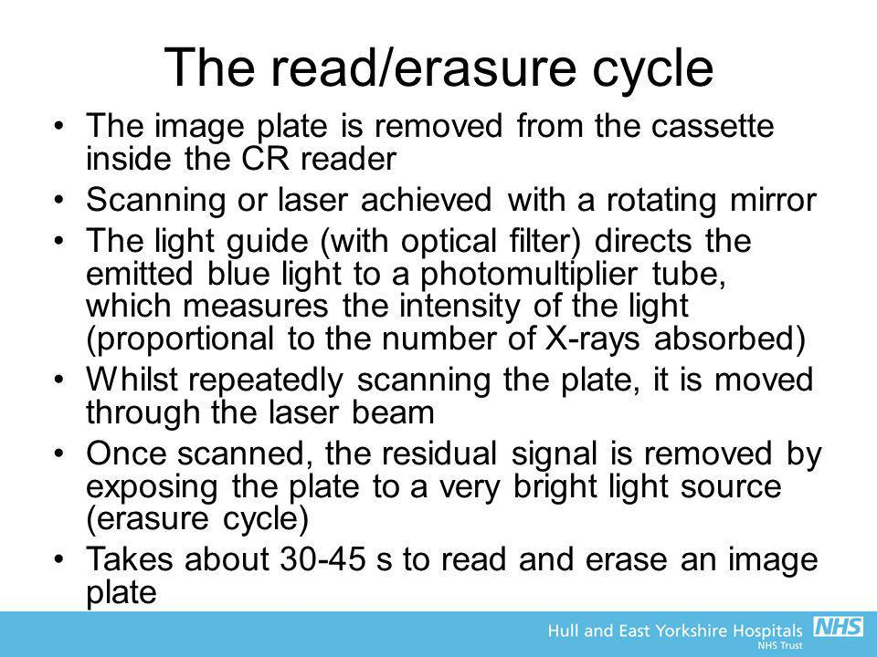 The read/erasure cycle The image plate is removed from the cassette inside the CR reader Scanning or laser achieved with a rotating mirror The light g