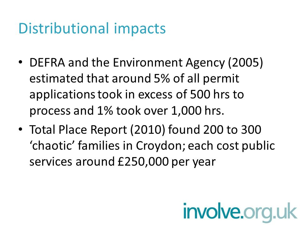 Distributional impacts DEFRA and the Environment Agency (2005) estimated that around 5% of all permit applications took in excess of 500 hrs to proces