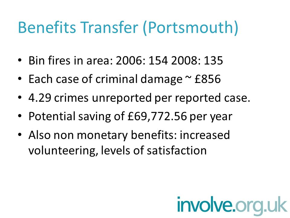 Benefits Transfer (Portsmouth) Bin fires in area: 2006: 154 2008: 135 Each case of criminal damage ~ £856 4.29 crimes unreported per reported case.