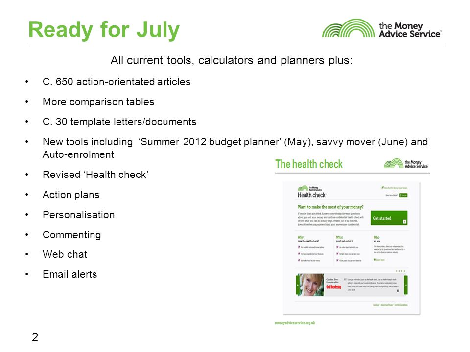 Ready for July All current tools, calculators and planners plus: C.