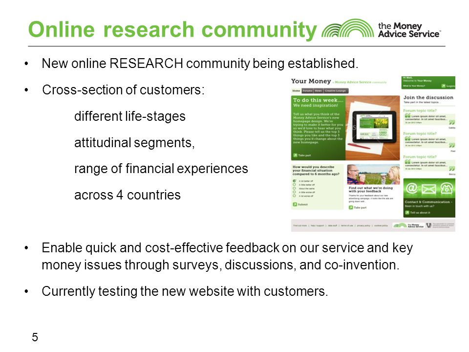 Online research community 5 New online RESEARCH community being established.