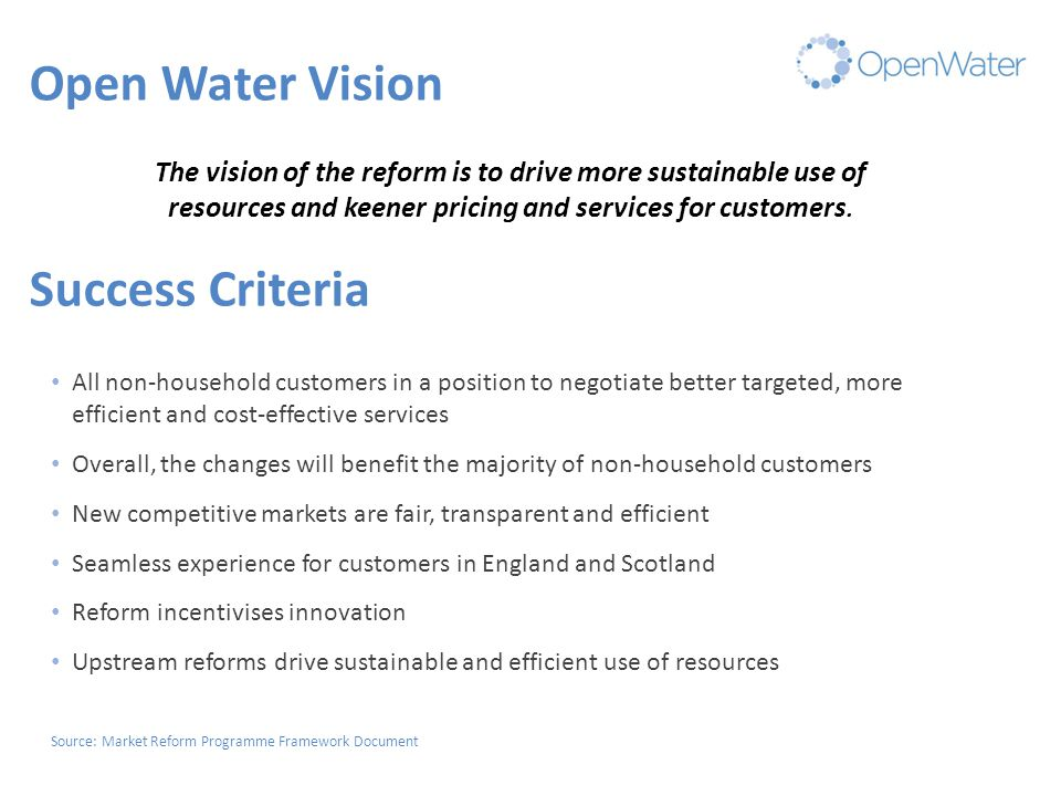 Consultation responses 33 responses received 10 Water and Sewerage companies (all) 7 Water only companies (not DVW or CHL) 2 NAVs /insets(ALB & PWN) 4 other water providers (Scottish Water, Business Stream, Clear Business Water, TWCL) 2 from Gvt/other regulators (EA, CCW) 7 other respondents (Gemserve, Prologis, C & C Group, CGI, Electralink, Fair Water Connections, WRAS, Sybex) Over 2000 individual responses to questions