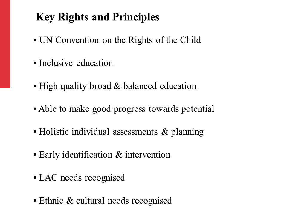 UN Convention on the Rights of the Child Inclusive education High quality broad & balanced education Able to make good progress towards potential Holistic individual assessments & planning Early identification & intervention LAC needs recognised Ethnic & cultural needs recognised Key Rights and Principles