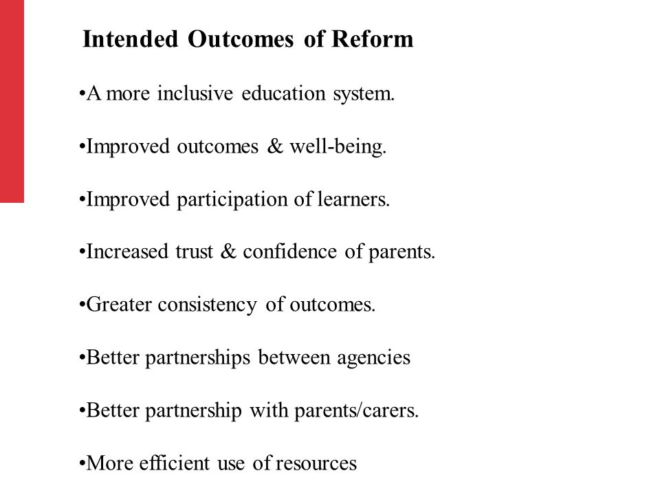 A more inclusive education system. Improved outcomes & well-being.