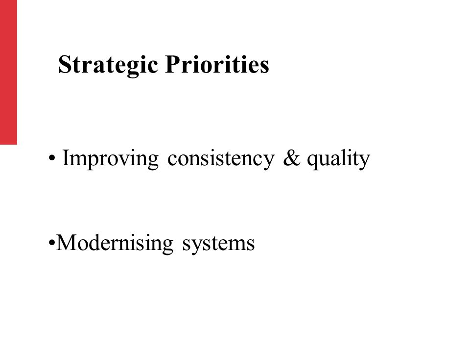 Improving consistency & quality Modernising systems Strategic Priorities