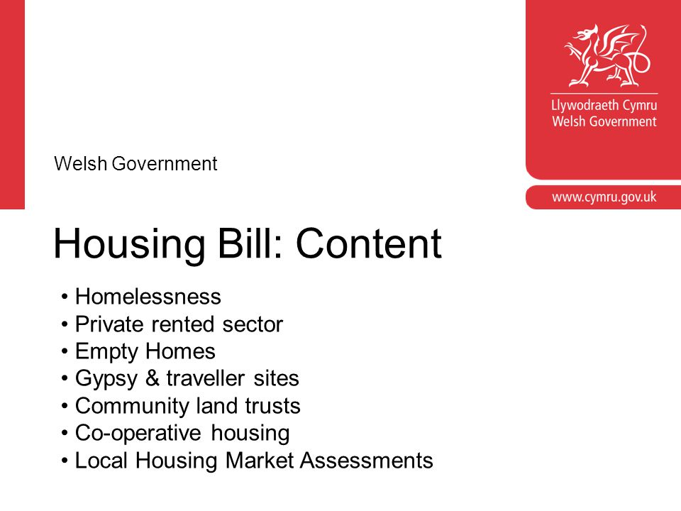 Housing Bill: Content Homelessness Private rented sector Empty Homes Gypsy & traveller sites Community land trusts Co-operative housing Local Housing Market Assessments Welsh Government