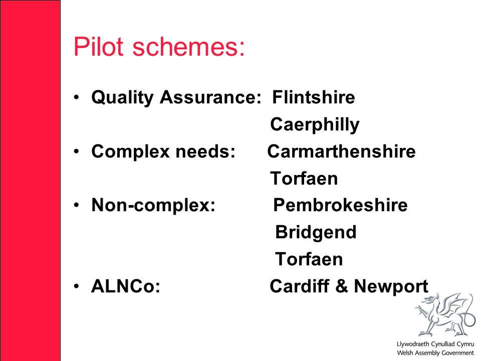 Pilot schemes: Quality Assurance: Flintshire Caerphilly Complex needs: Carmarthenshire Torfaen Non-complex: Pembrokeshire Bridgend Torfaen ALNCo: Cardiff & Newport