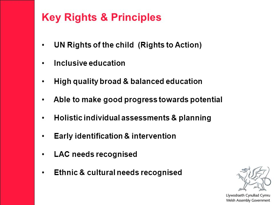 Key Rights & Principles UN Rights of the child (Rights to Action) Inclusive education High quality broad & balanced education Able to make good progress towards potential Holistic individual assessments & planning Early identification & intervention LAC needs recognised Ethnic & cultural needs recognised
