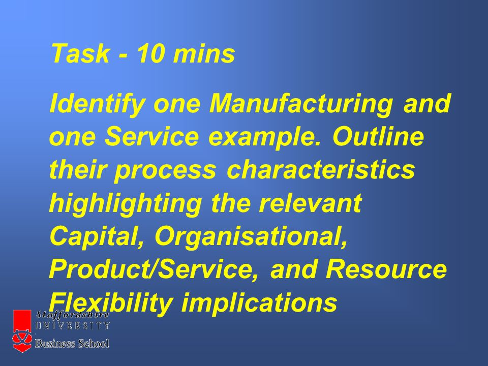 Task - 10 mins Identify one Manufacturing and one Service example.