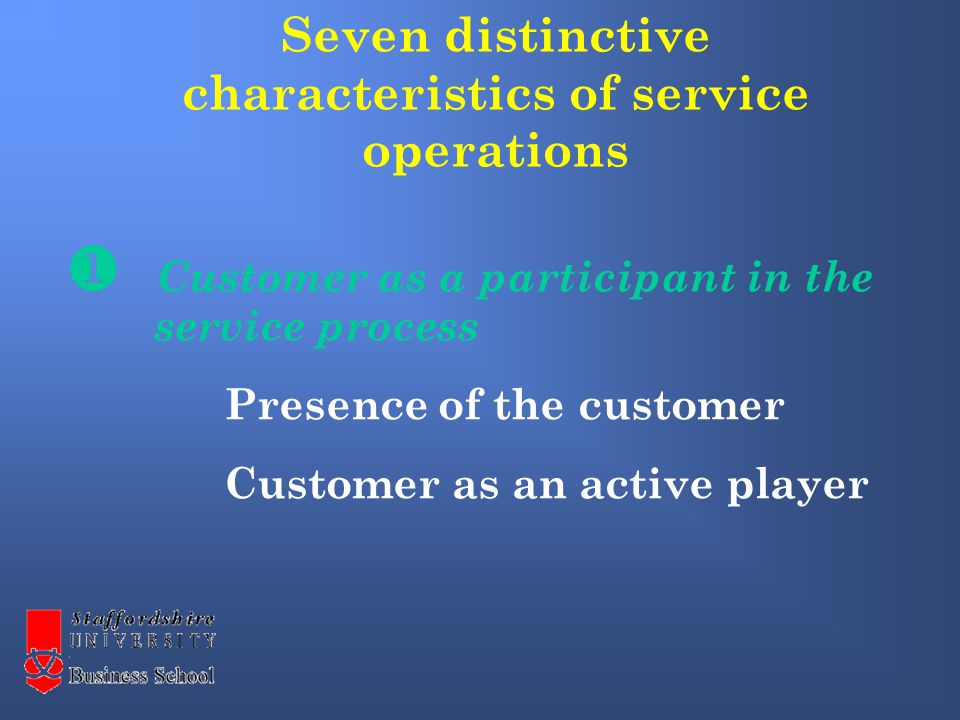  Customer as a participant in the service process Presence of the customer Customer as an active player