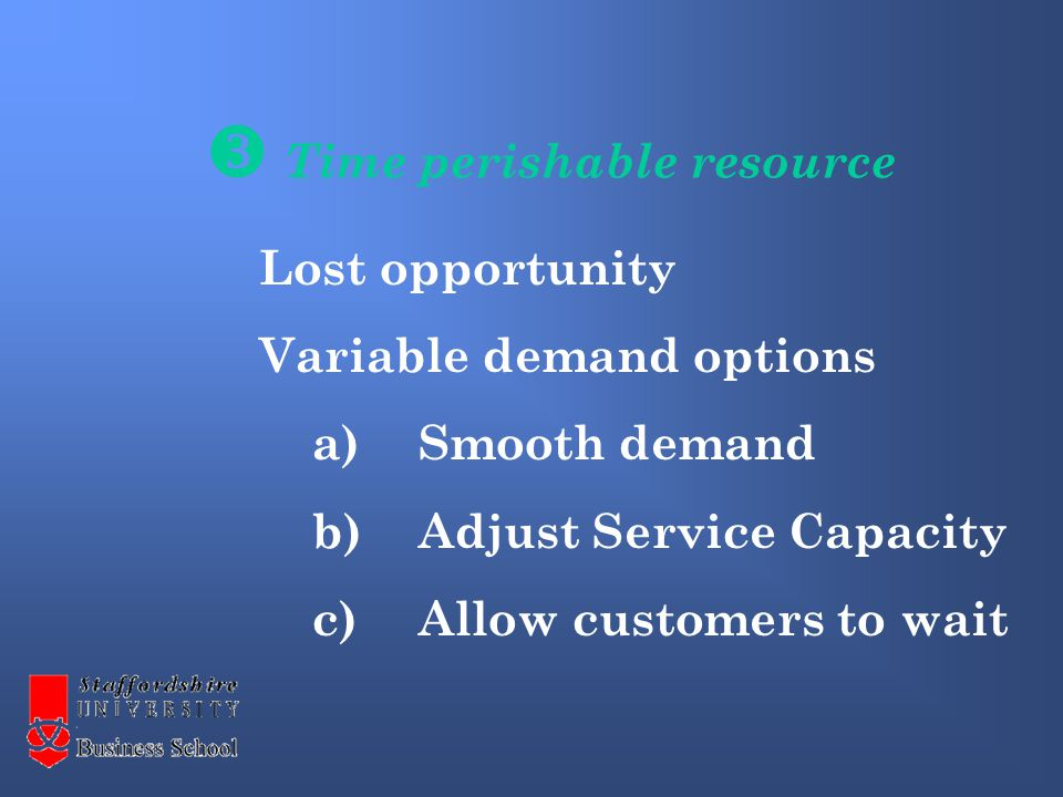  Time perishable resource Lost opportunity Variable demand options a)Smooth demand b)Adjust Service Capacity c)Allow customers to wait