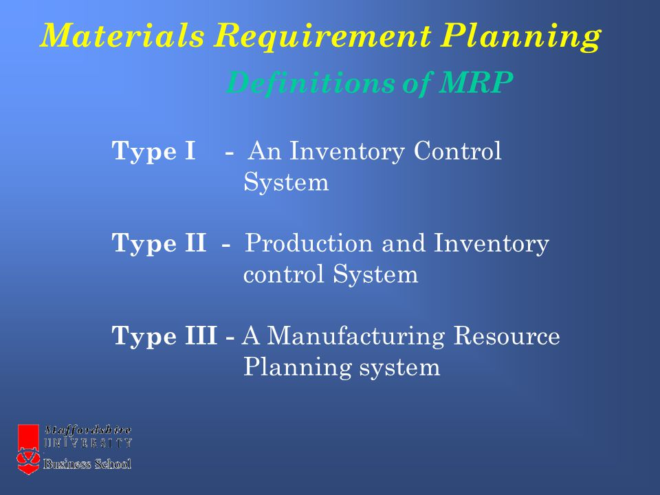Materials Requirement Planning Definitions of MRP Type I - An Inventory Control System Type II - Production and Inventory control System Type III - A Manufacturing Resource Planning system