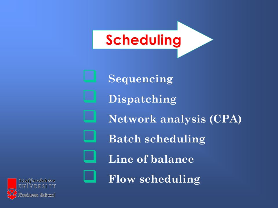  Sequencing  Dispatching  Network analysis (CPA)  Batch scheduling  Line of balance  Flow scheduling Scheduling