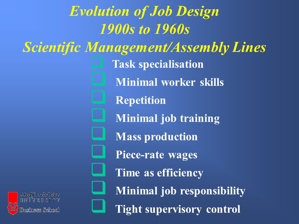  Horizontal job enlargement  Vertical job enlargement  Job responsibility and empowerment  Training and education  Job rotation  Higher skill levels  Team problem solving  Employee involvement and integration  Focus on quality Evolution of Job Design 1970s to 2000s