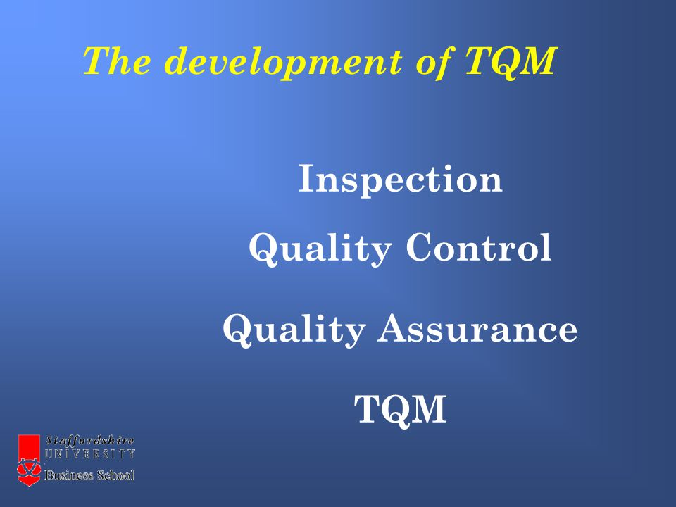 Inspection Quality Control Quality Assurance TQM The development of TQM