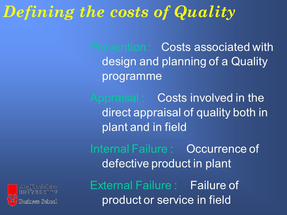Satisfying Customer Requirements (adapted from Garvin 1988 Managing Quality) Performance Features Reliability Conformance Durability Serviceability Aesthetics Perceived Quality