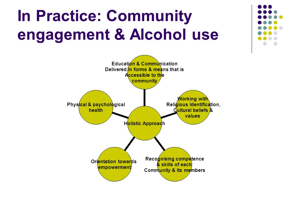 In Practice: Community engagement & Alcohol use Holistic Approach Education & Communication Delivered in forms & means that is Accessible to the commu