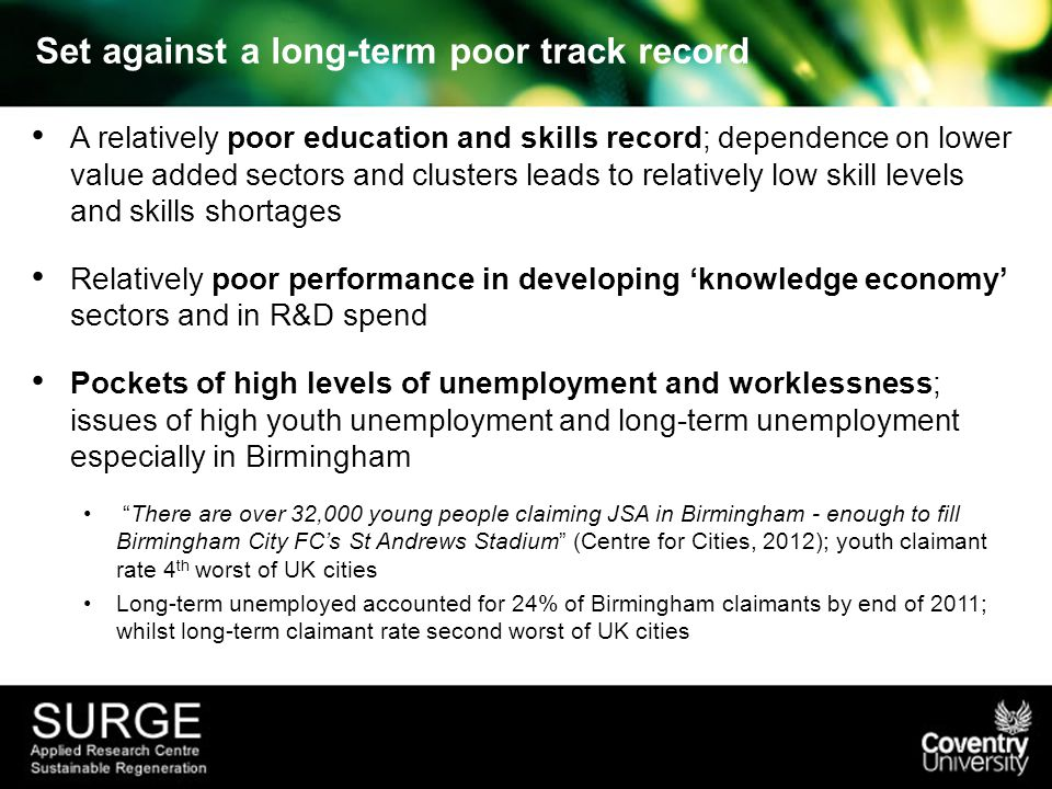 Set against a long-term poor track record A relatively poor education and skills record; dependence on lower value added sectors and clusters leads to relatively low skill levels and skills shortages Relatively poor performance in developing 'knowledge economy' sectors and in R&D spend Pockets of high levels of unemployment and worklessness; issues of high youth unemployment and long-term unemployment especially in Birmingham There are over 32,000 young people claiming JSA in Birmingham - enough to fill Birmingham City FC's St Andrews Stadium (Centre for Cities, 2012); youth claimant rate 4 th worst of UK cities Long-term unemployed accounted for 24% of Birmingham claimants by end of 2011; whilst long-term claimant rate second worst of UK cities