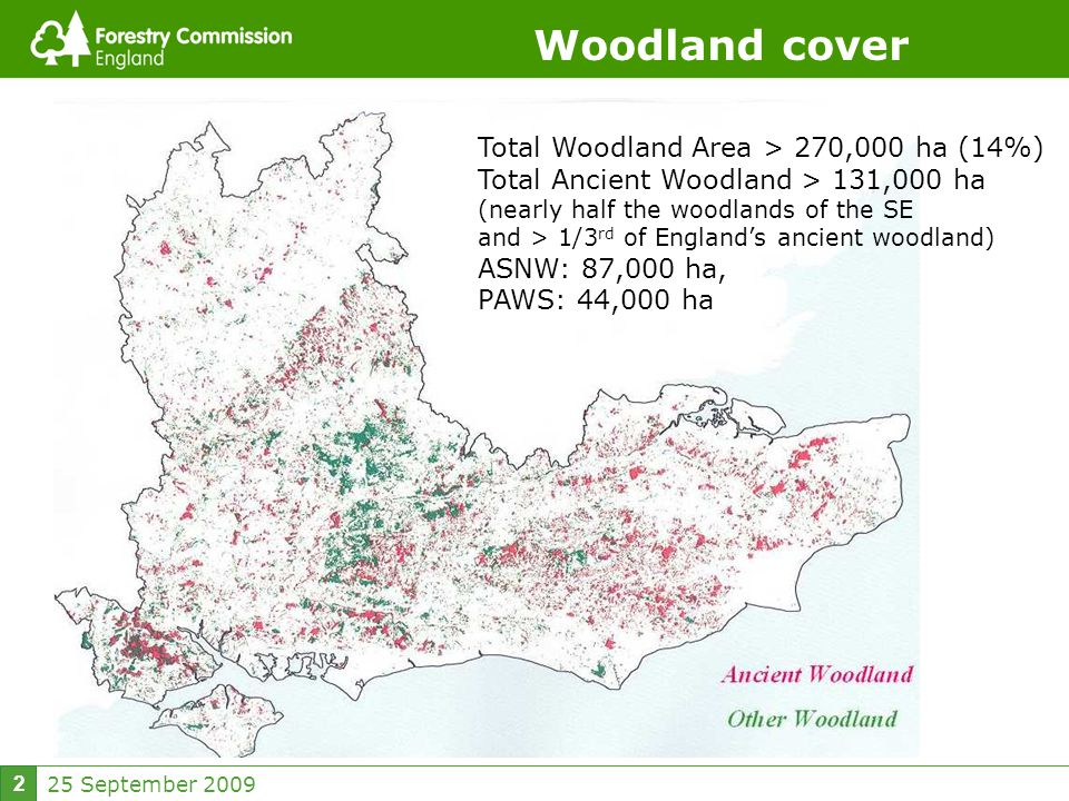 25 September Woodland cover Total Woodland Area > 270,000 ha (14%) Total Ancient Woodland > 131,000 ha (nearly half the woodlands of the SE and > 1/3 rd of England's ancient woodland) ASNW: 87,000 ha, PAWS: 44,000 ha