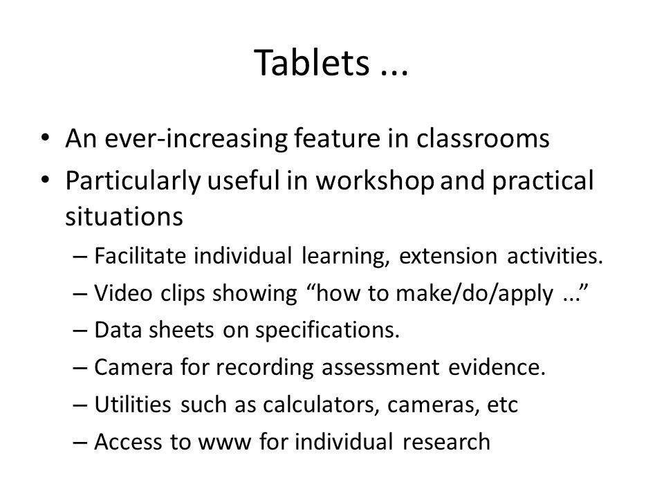 Tablets...