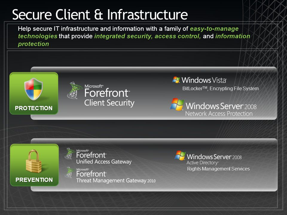 Secure Client & Infrastructure Help secure IT infrastructure and information with a family of easy-to-manage technologies that provide integrated secu