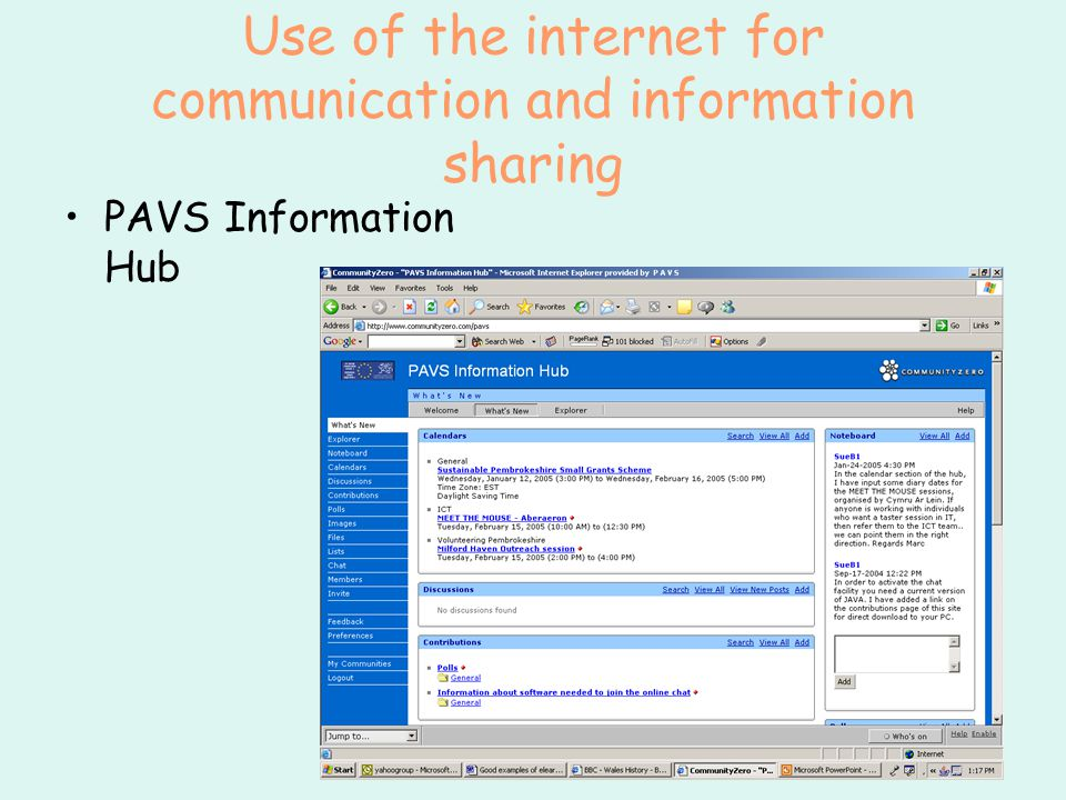 Use of the internet for communication and information sharing PAVS Information Hub