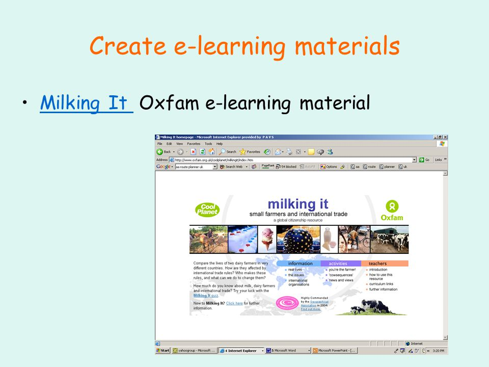 Create e-learning materials Milking It Oxfam e-learning materialMilking It
