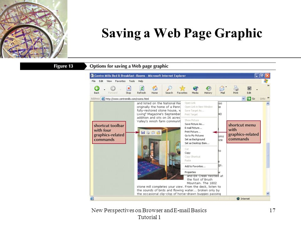 XP New Perspectives on Browser and E-mail Basics Tutorial 1 17 Saving a Web Page Graphic