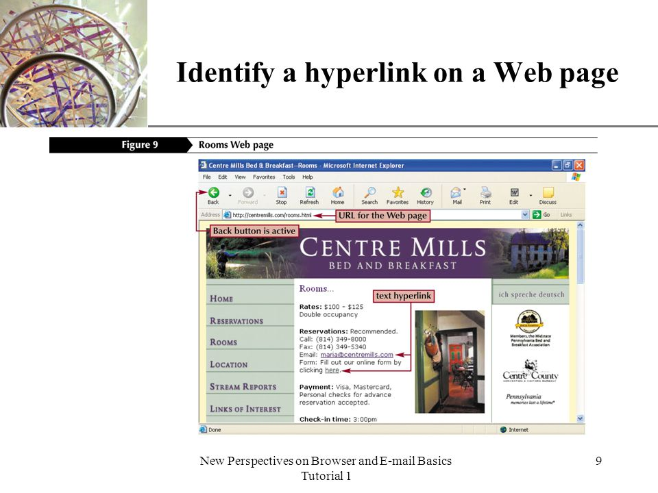 XP New Perspectives on Browser and E-mail Basics Tutorial 1 10 Hyperlinks and Web pages