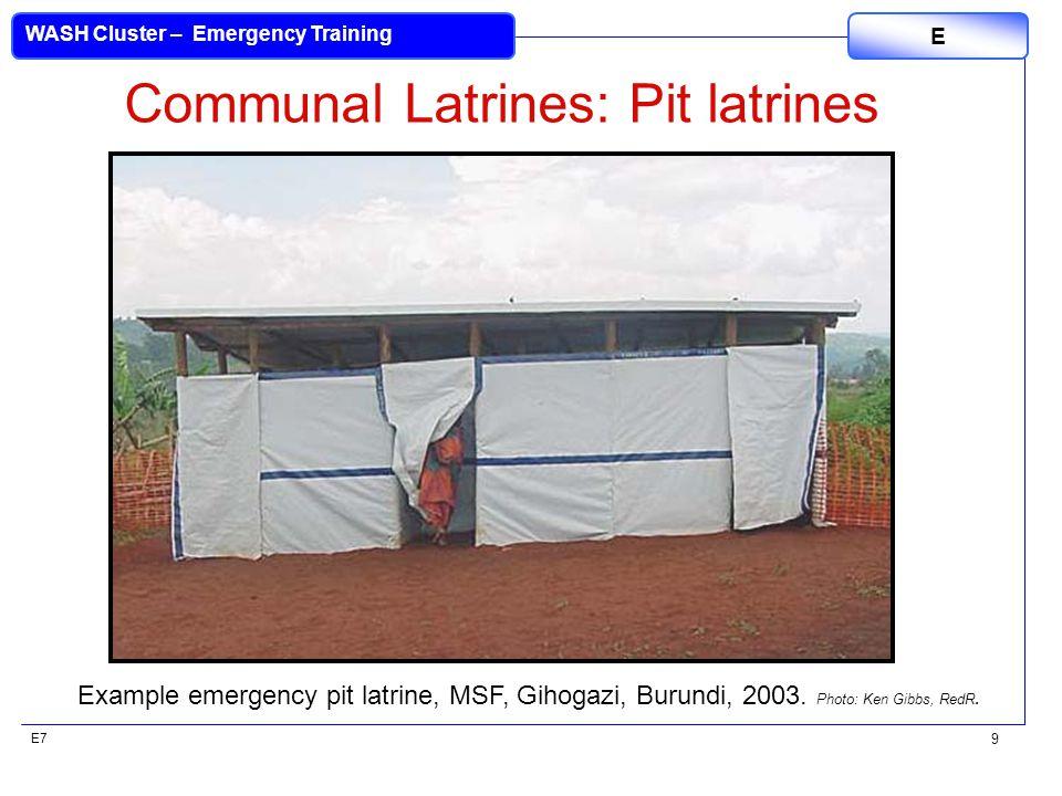 E7 WASH Cluster – Emergency Training E 9 Communal Latrines: Pit latrines Example emergency pit latrine, MSF, Gihogazi, Burundi, 2003.