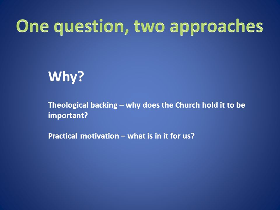 Theological backing – why does the Church hold it to be important.