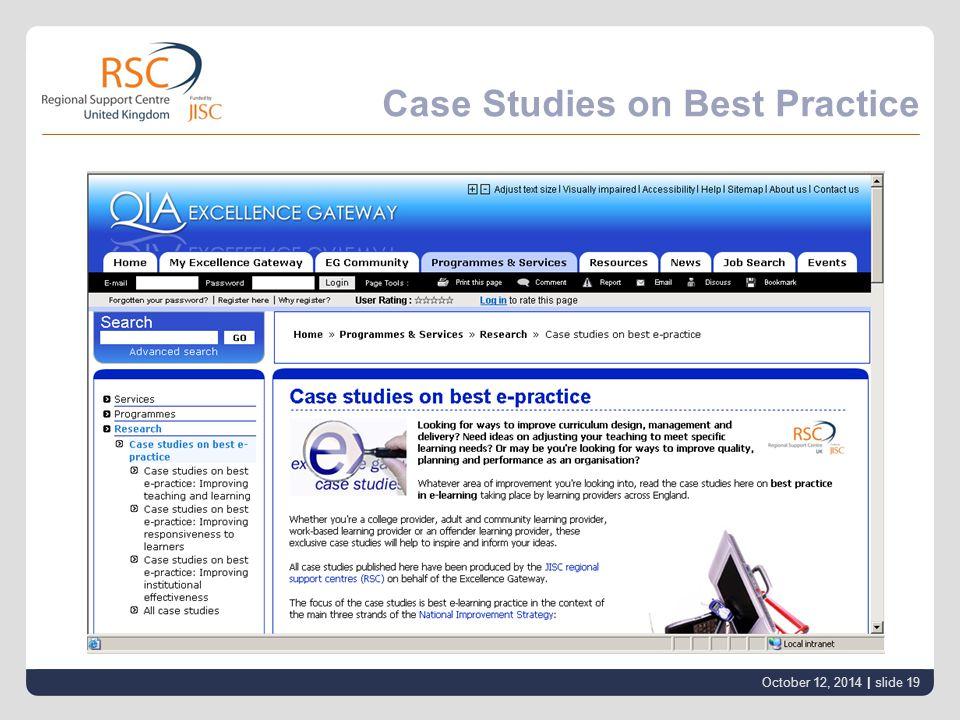 Case Studies on Best Practice October 12, 2014 | slide 19